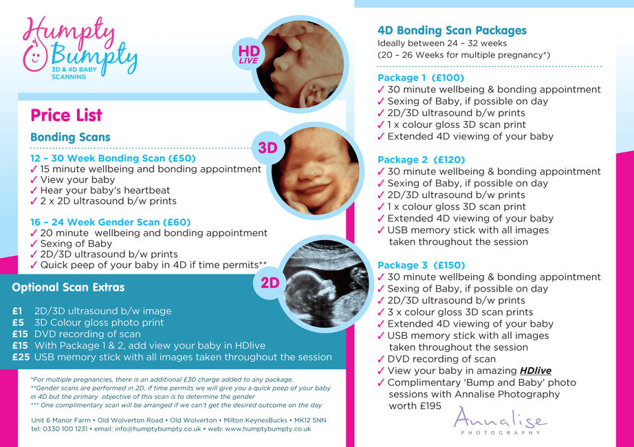 Price list for 3D and 4D baby scans at Humpty Bumpty